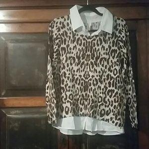 Chico's Leopard Print Shirt w/White Collar